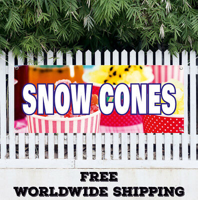 Banner Vinyl Snow Cones Advertising Sign Flag Food Shaved Ice Balls Snocone