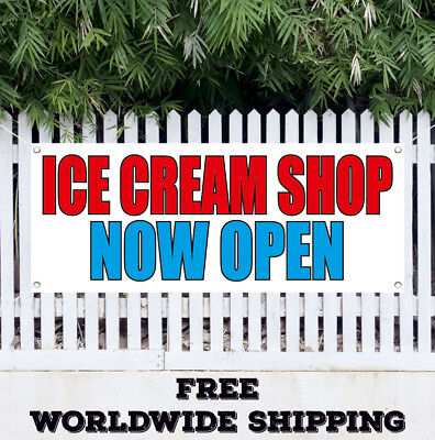 Banner Vinyl Ice Cream Shop Now Open Advertising Sign Flag Grand Opening Store