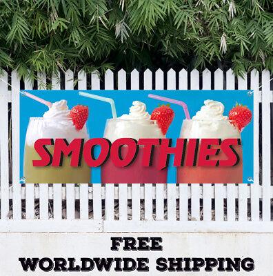 Smoothies Advertising Vinyl Banner Flag Sign Fresh Fruits Ice Cream Yoguart Food