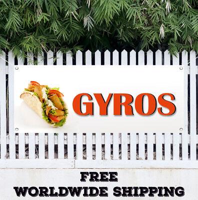 Banner Vinyl Gyros Advertising Sign Flag Stand Food Greece Fresh Restaurant
