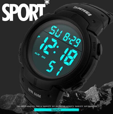 Herrenuhr Armbanduhren Stoppuhr LED Digitaluhr Quarzuhr LCD Wasserdicht Uhr