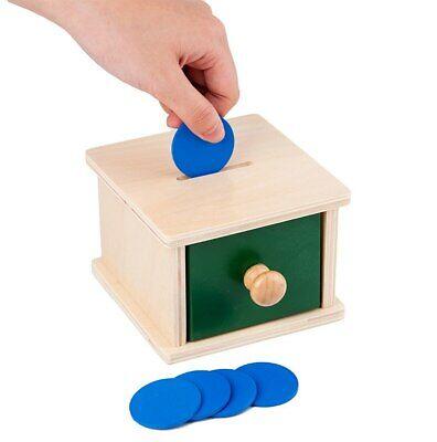 Materiale Montessori IN LEGNO Scatola dell'infilare GETTONI Giocattolo BAMBINO