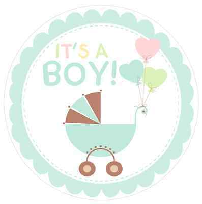 Baby Shower Welcome {boy Blue} Edible Round Cake Topper Decoration