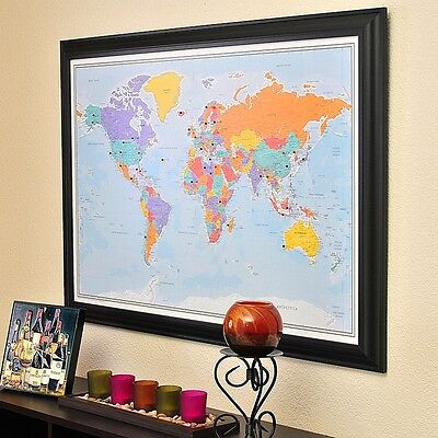 Blue Oceans World - Travel Map with pins - Great Wedding Gift - Plan your Trips (World Maps With Pins)