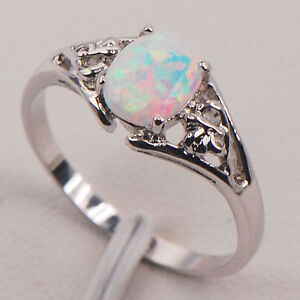 Lady's White Fire Opal 925 Sterling Silver Wedding Ring Size 7
