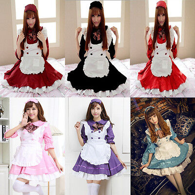 Womens Halloween Anime Cosplay Maid Costume Lolita French Babydoll Dress Uniform (French Maid Uniforms)