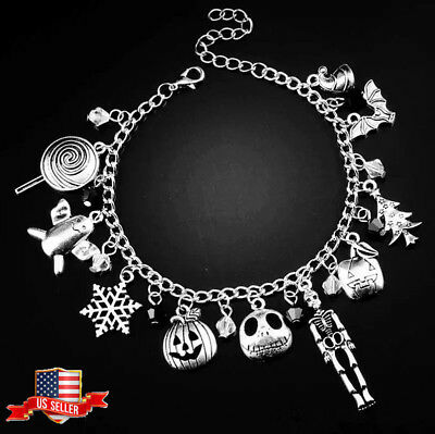 US! The Nightmare Before Christmas Jack Skellington Sally Gothic Bracelet Gifts ()
