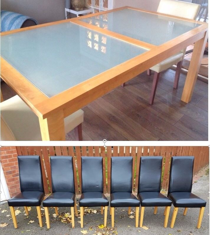 solid rubber wood frosted glass dining table 6 black leather