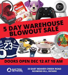 5 DAY WAREHOUSE BLOWOUT SALE - SAVE UP TO 70% - DEC 12 TO 16th