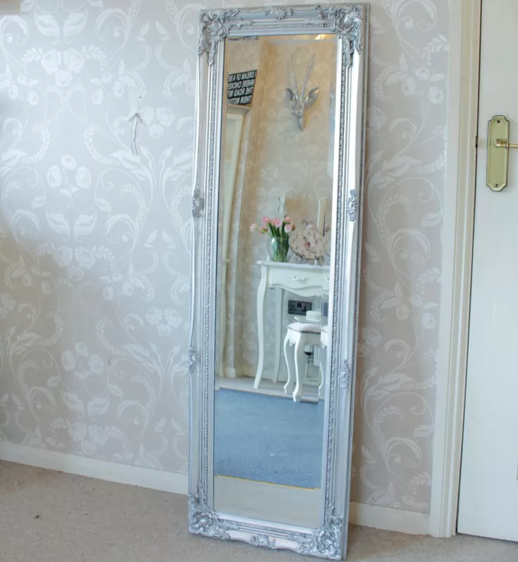 mirror - French Wall Mirror Tall Silver Dressing Shabby Chic Full Length Antique Ornate