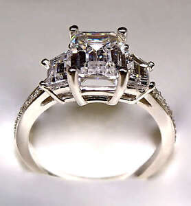 2.78 CT EMERALD CUT ENGAGEMENT RING 14K SOLID GOLD NO RESERVE