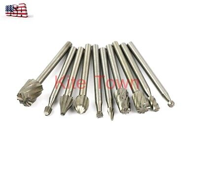 10pcs Tungsten Carbide Cutting Burr For Dremel Drill Bits Rotary Tool Grinder