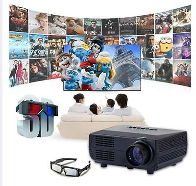 Mini 2000lm 1080P LED Projector Full HD 3D Home Theater Cinema TV Video HDMI PC