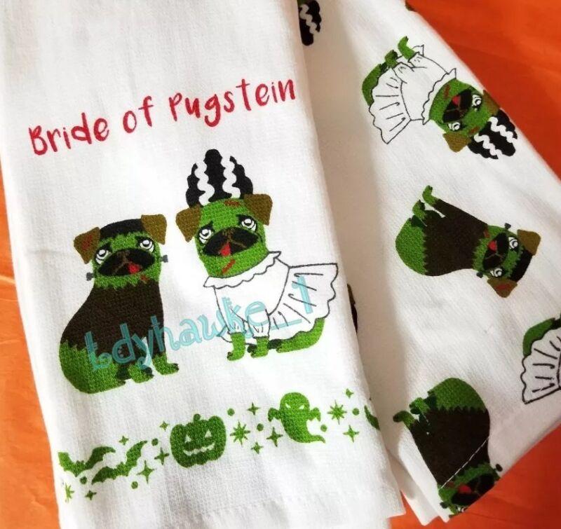 🐶 2 Bride Of Pugstein Tea Towels Pug Dog Frankenstein Roswell Relics Halloween
