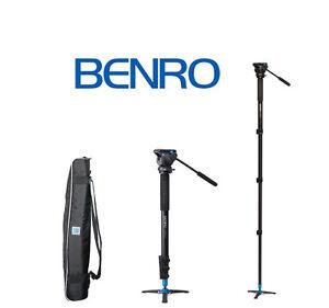 Benro-A38FDS2-Video-Monopod-Twist-Lock-S2-Head-and-3-Leg-Base-Black-OPEN-BOX