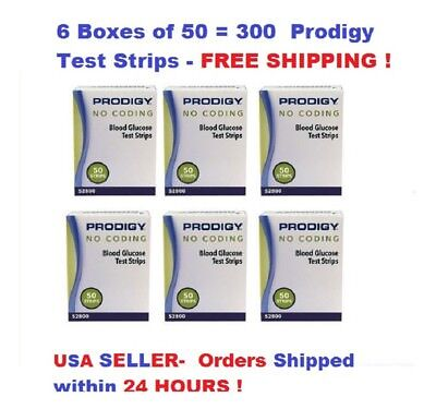 300 Prodigy No Coding Blood Glucose Test Strips Exp 2019 Free S H