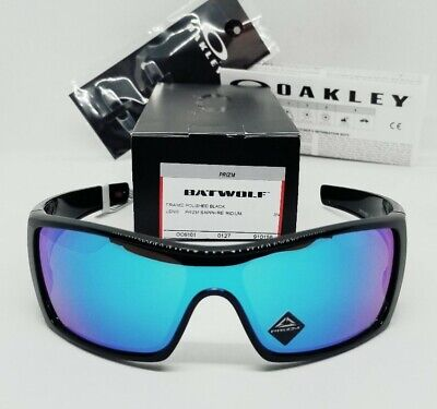 "OAKLEY polished black ""PRIZM SAPPHIRE"" BATWOLF OO9101-58 sunglasses! NEW IN BOX!"