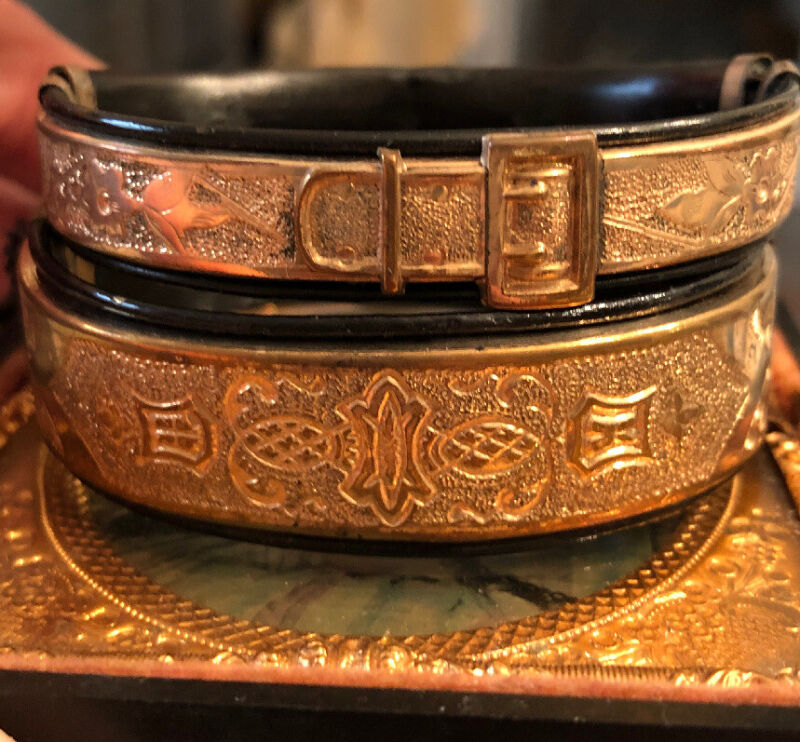 Pair Antique Victorian Wedding Ornate Bracelets  Adjustable Stretch