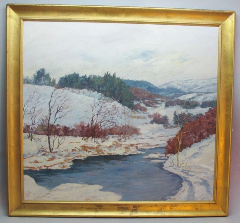 "Original 36"" X 34"" Oil Painting John Modesitt (american, B. 1955) ""first Snow"""