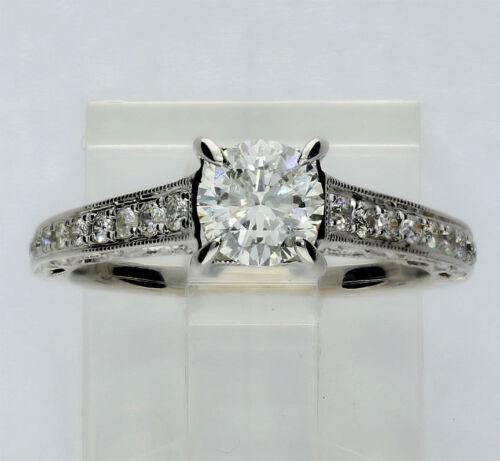 Diamond Engagement Ring 14k White Gold Chaim Cut Brilliant .85ct Sz 5 1/4