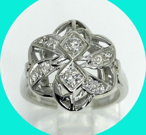 Antique estate .35CT diamond filigree pinwheel ring 14K WG sz 5