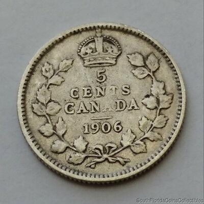 1906 Canada 5 Five Cent .925 Fine Silver Coin