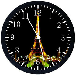 Eiffel Tower Black Frame Wall Clock Nice For Decor or Gifts E100