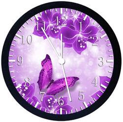 Purple Butterfly Black Frame Wall Clock E112