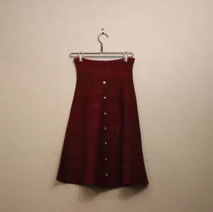Maroon Skirt with Buttons