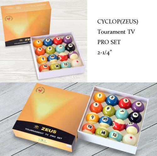 "Cyclop ZEUS Tourament TV Pro Billiards Ball Set 2-1/4"""