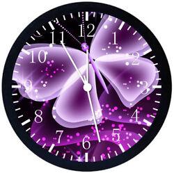 Purple Butterfly Black Frame Wall Clock E143
