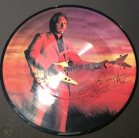 Signed John Entwistle Too late the hero vinyl picture disc record.