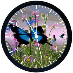Beautiful Flowers Butterfly Black Frame Wall Clock Nice For Decor or Gifts Y98