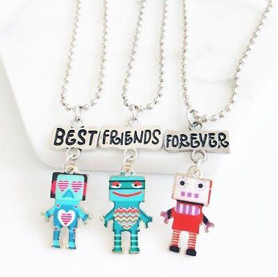 3PCS Kids Best Friends Forever Necklaces Robot Pendants Necklace For