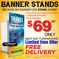 Banner Stand, Retractable Rollup, Roll Up, Pull up, Pullup PRINT
