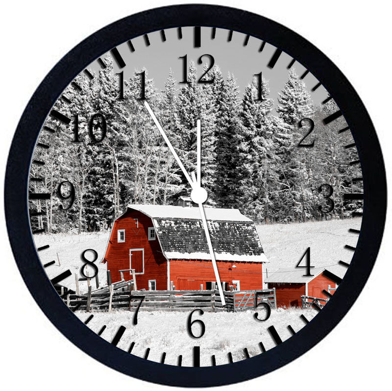 Farm Barn in The Snow Black Frame Wall Clock Nice For Decor or Gifts Z166