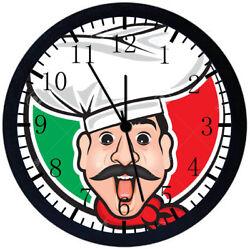 Italian Chef Black Frame Wall Clock E91