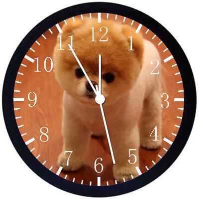 Cute Pomeranian Black Frame Wall Clock Nice For Decor or Gifts F10 (Pomeranian Wall Clock)