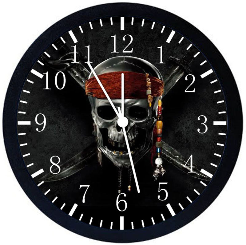 Pirates of the Caribbean Black Frame Wall Clock Nice For Decor or Gifts Z165