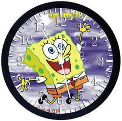 SpongeBob SquarePants Black Frame Wall Clock Nice For Decor or Gifts Z149