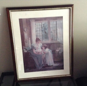Framed print with mother child & baby