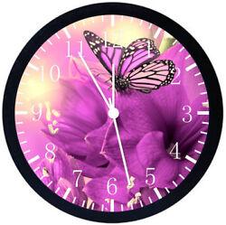 Beautiful Purple Butterfly Black Frame Wall Clock E122