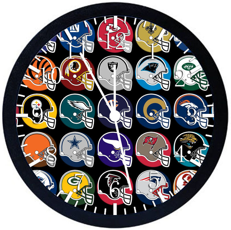 Football Helmets Black Frame Wall Clock Nice For Decor or Gifts Z171