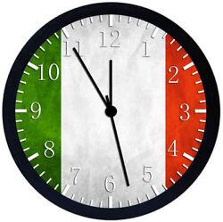 Italian Flag Black Frame Wall Clock Nice For Decor or Gifts W147