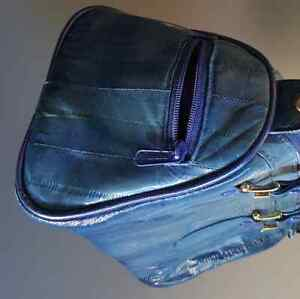 Royal Blue EEL SKIN petite purse. structured style
