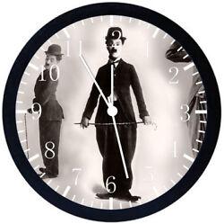 Funny Charlie Chaplin Black Frame Wall Clock E106
