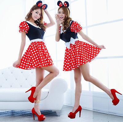 Halloween Karneval Damen Adults Mickey Mouse Kleid Kostüm Minnie Polka Rot (Adult Halloween Kostüm)