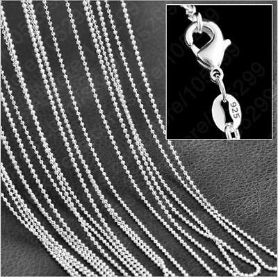5pcs 1.5mm 925 Silver Plated Round Ball Bead Chain Necklaces 16