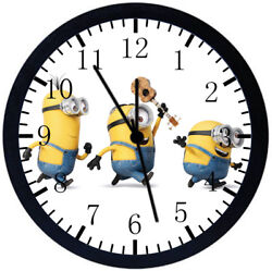 Cute Minions Black Frame Wall Clock Nice For Decor or Gifts E48