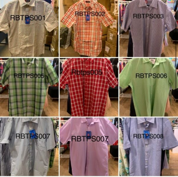 Clearance 50pc Men Woven Working Shirt Tops Collared Long Short Sleeve Office Cotton Apparel
